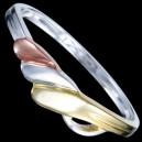 Prsten stříbrný, tři vlnky, pozlácený