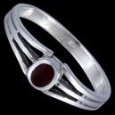 Prsten stříbrný, emailový, s kamínkem