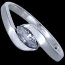 Prsten stříbrný, CZ,