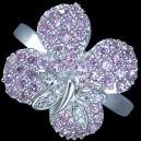 Prsten stříbrný, CZ, květ s motýlem