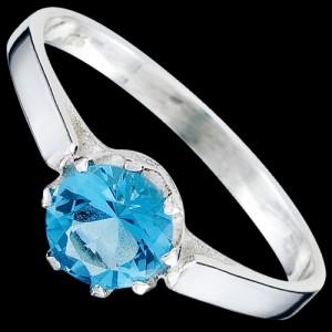 Prsten stříbrný, CZ, s očkem