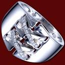 Prsten zlatý, diamanty, opasek
