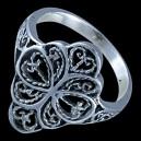 Prsten stříbrný, květ