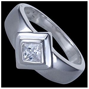 Prsten stříbrný, CZ, kosočtverec