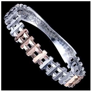 Prsten stříbrný, křížky, pozlacený