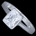 Prsten stříbrný, CZ, obdélnik