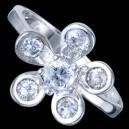Prsten stříbrný, CZ, kvítek