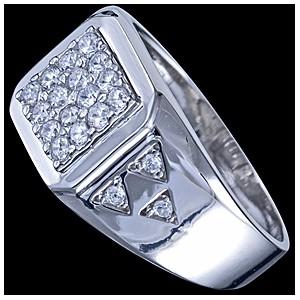 Prsten stříbrný, CZ, pečetní