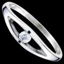 Prsten stříbrný, CZ, ovál