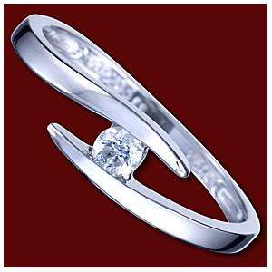 Prsten zlatý, diamanty, zásnubní