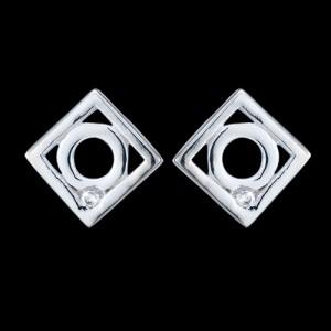 Náušnice stříbrné, CZ, čtverec