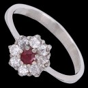 Prsten stříbrný, zirkon, rubín