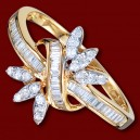 Prsten zlatý, diamanty, zásnubní, kvítek