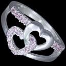 Prsten stříbrný, CZ, srdíčka