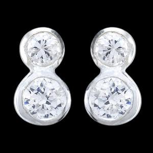 Náušnice stříbrné, CZ, dva kroužky