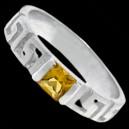 Prsten stříbrný, CZ, řecký design