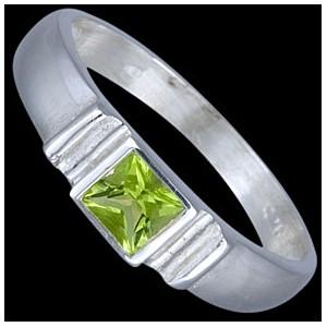 Prsten stříbrný, CZ, čtverec