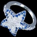 Prsten stříbrný, CZ, hvězdice