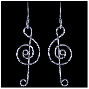 Náušnice stříbrné, houslový klíč