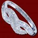 Prsten zlatý, diamanty, zásnubní, vlnka