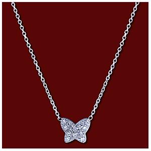 Náhrdelník zlatý, diamanty, motýlek