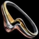 Prsten stříbrný, vlnka, pozlacený