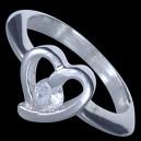 Prsten stříbrný, CZ, srdíčko
