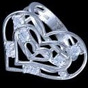 Prsten stříbrný, CZ, srdce