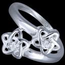 Prsten stříbrný, CZ, hvězdičky