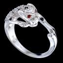 Prsten stříbrný, zirkon, puma