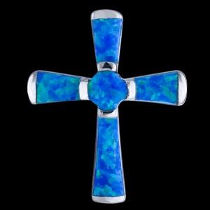 Přívěsek stříbrný, opál, kříž