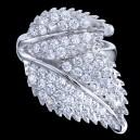 Prsten stříbrný, zirkon, listy