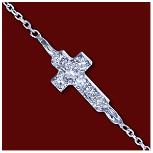 Náhrdelník zlatý, diamanty, křížek