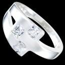 Prsten stříbrný, CZ, opaskový