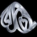 Prsten stříbrný, spojené srdíčka